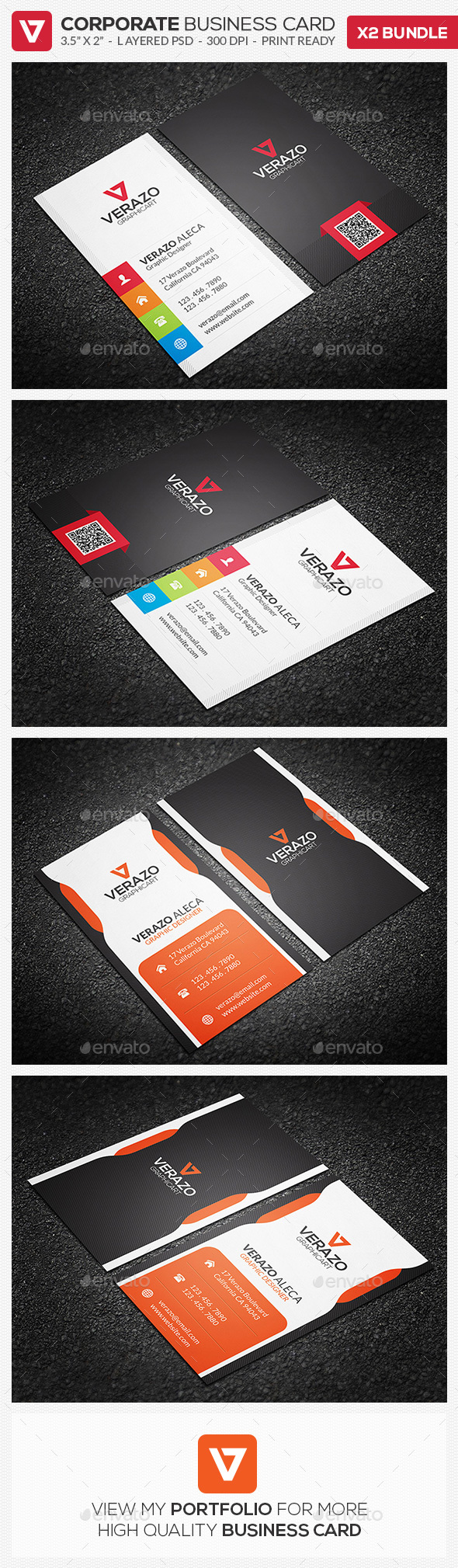 Business Card Bundle 24 - Vertical by verazo | GraphicRiver