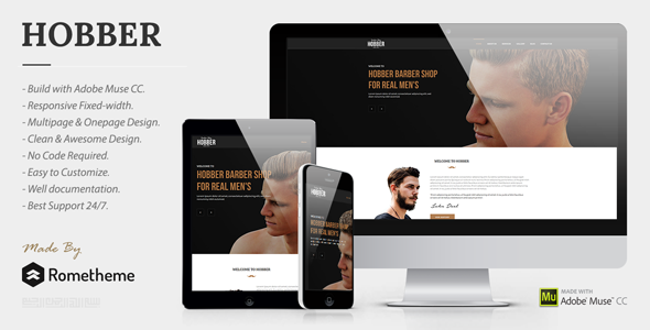 Hobber - Barbershop, Hair & Salon Muse Template