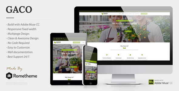 Gaco - Landscaping & Gardening Muse Template - Corporate Muse Templates