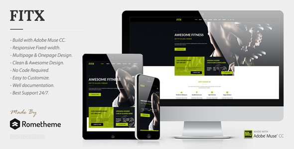FitX - Fitness & Gym Muse Template - Corporate Muse Templates