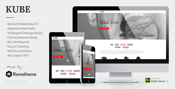 Kube - Musician, DJ, Band, Music Muse Template - Creative Muse Templates