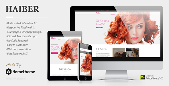 Haiber - Beauty, Haircut, & Make-up Muse Template - Miscellaneous Muse Templates