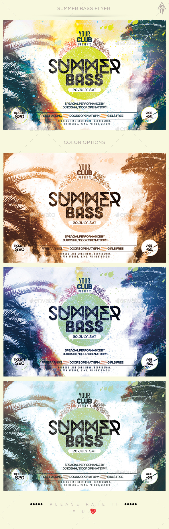 Summer Bass Flyer - Clubs & Parties Events