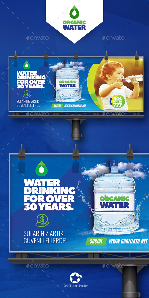 Drinking Water Service Billboard Templates - Signage Print Templates