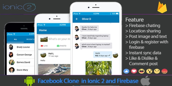 Facebook Clone in Ionic 2 and Firebase - CodeCanyon Item for Sale