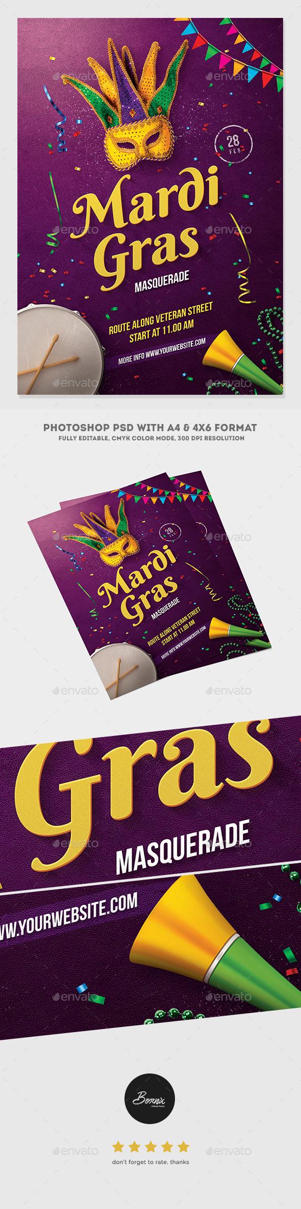 Mardi Gras Masquerade Flyer - Events Flyers