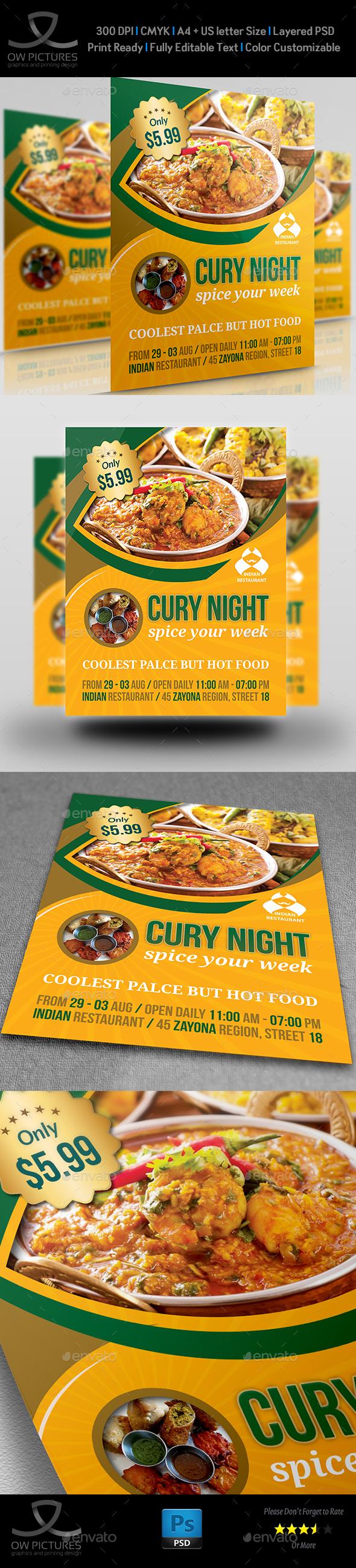 Indian Restaurant Flyer Template - Restaurant Flyers