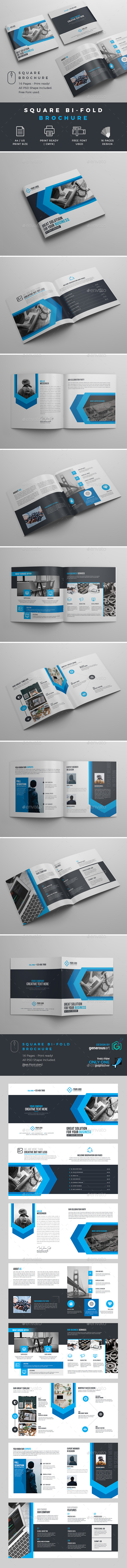 Square Bi-Fold Brochure Template - Corporate Brochures