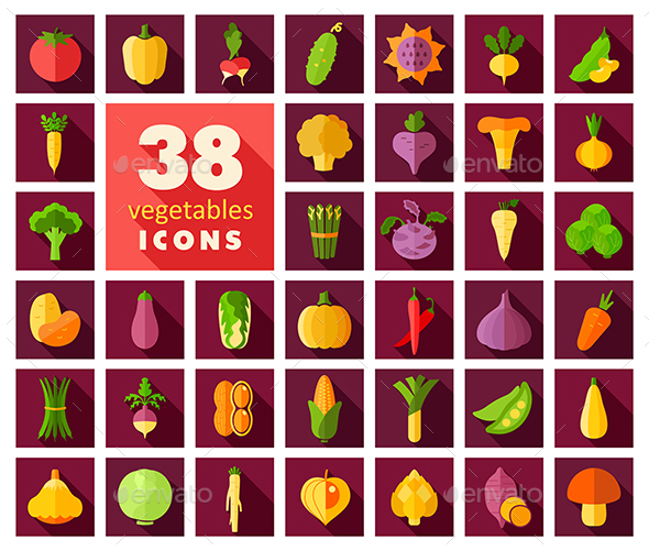 Vegetables flat icons set - Web Icons