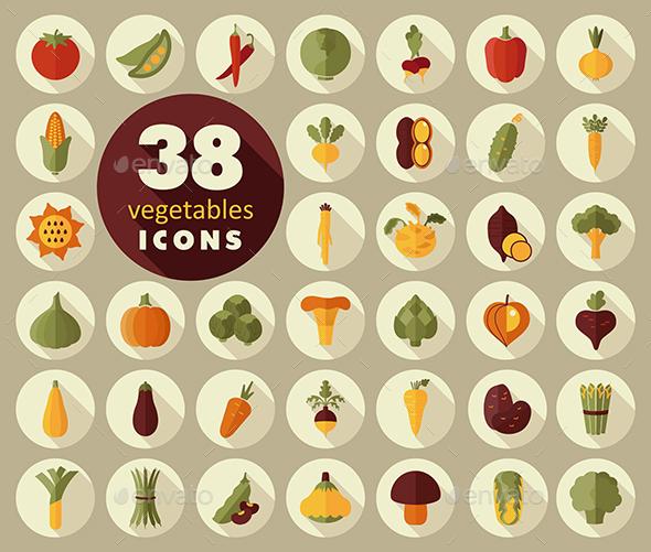 Vegetables flat icons set - Web Icons