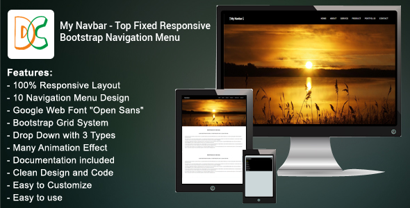 My Navbar - Top Fixed Responsive Bootstrap Navigation Bar nulled free download