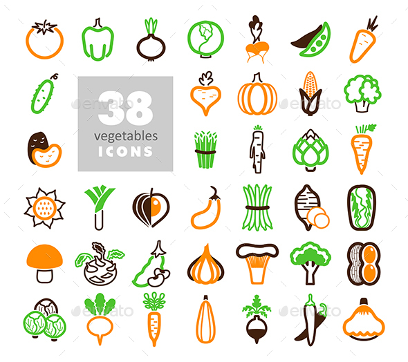 Vegetables outline icons set - Food Objects