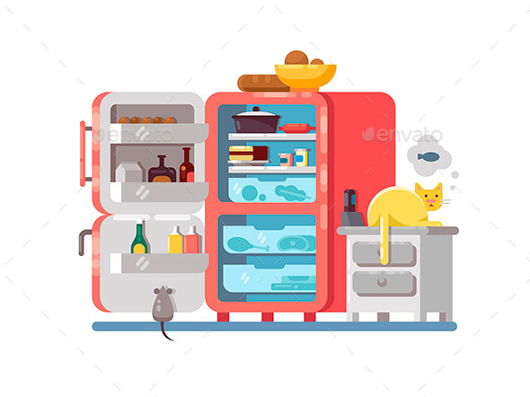 Open Refrigerator with Food - Objects Vectors