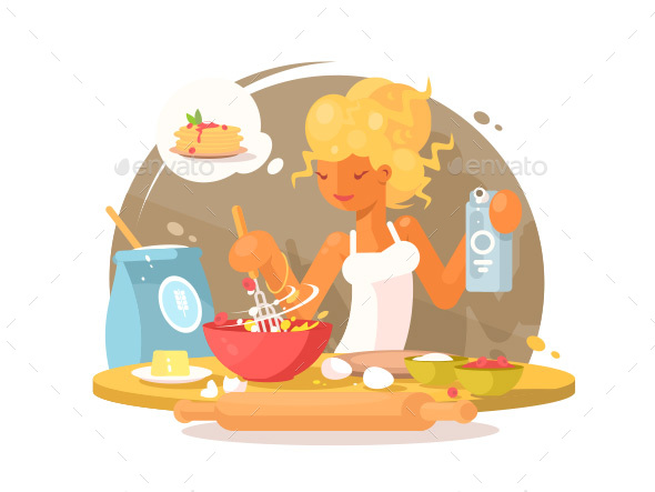 Young Blonde Woman Prepares Meal - People Characters