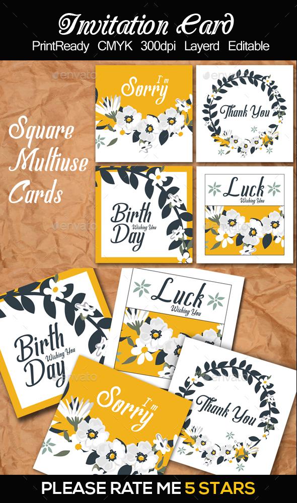 4 Square Multi Use Card Templates - Cards & Invites Print Templates