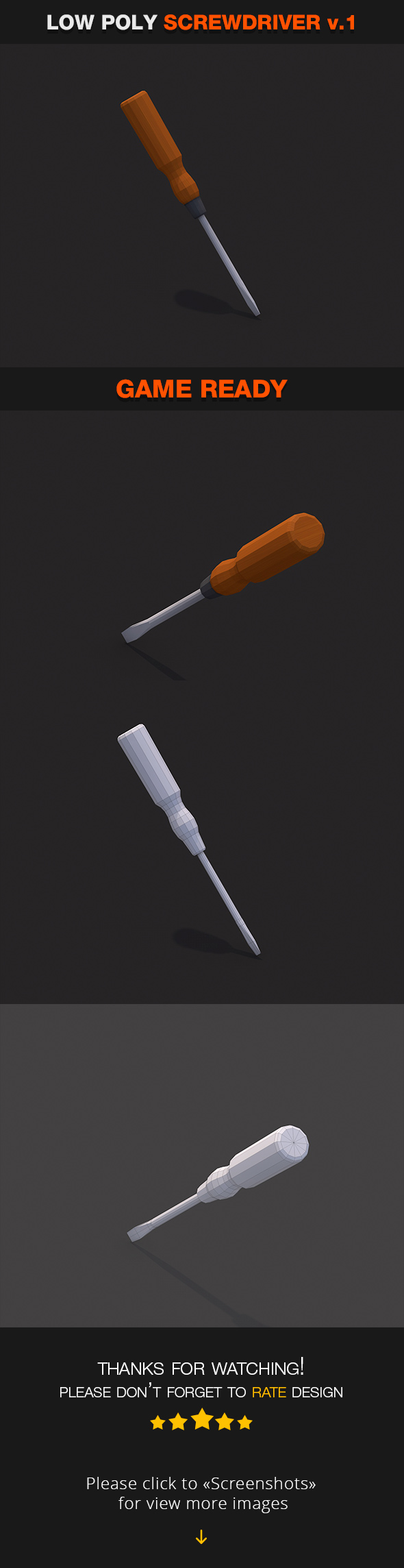 Low Poly Screwdriver v.1 - 3DOcean Item for Sale