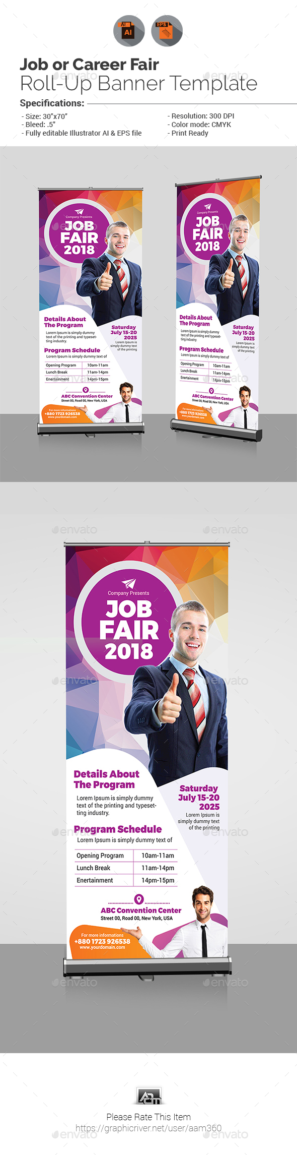 Job Fair Roll-Up Banner Template - Signage Print Templates