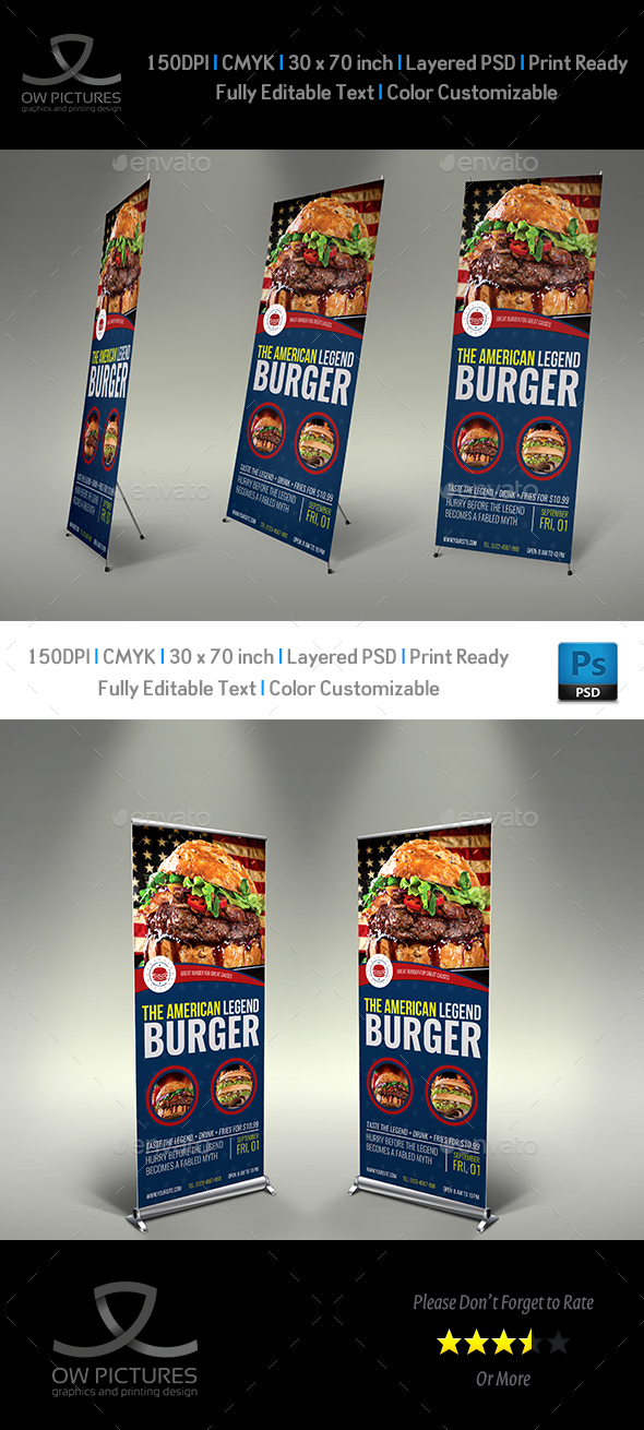 Burger Restaurant Signage Roll Up Banner Vol.8 - Signage Print Templates