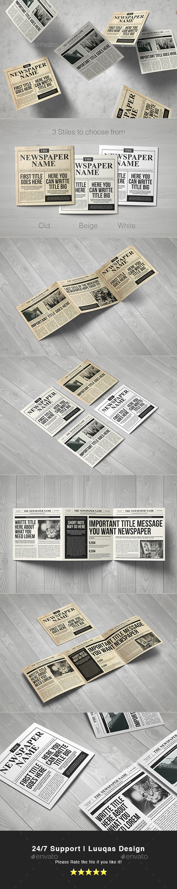 Newspaper Brochure Trifold - Brochures Print Templates