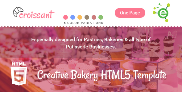 Croissant – Creative Bakery and Pastry Business One Page HTML5 Template