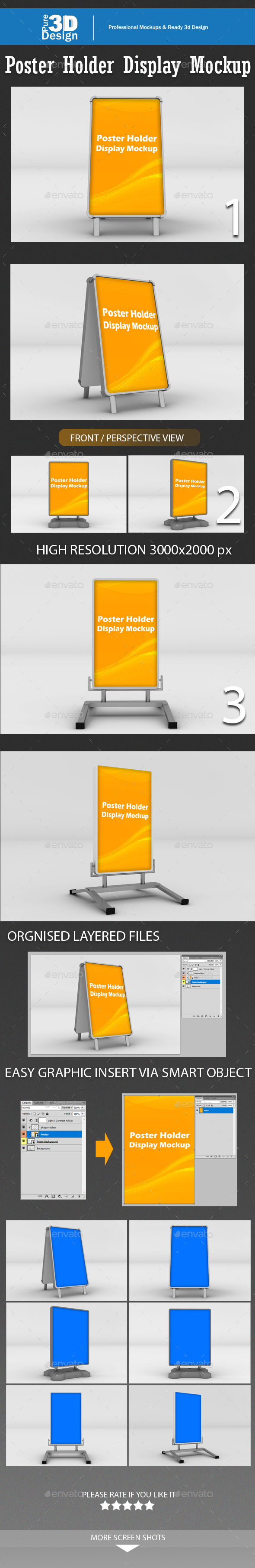 Poster Holder Display Mockup - Signage Print