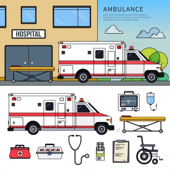 Ambulance Car on the Street - Health/Medicine Conceptual