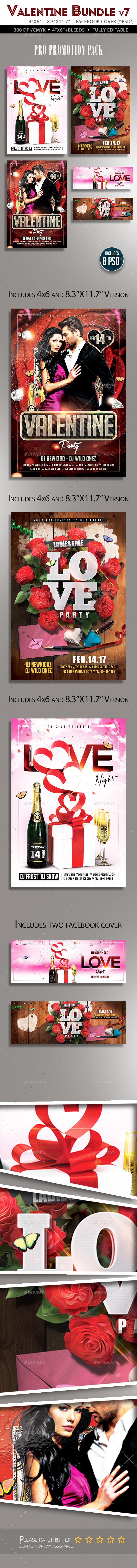 Valentine Flyer Bundle v7 - Clubs & Parties Events