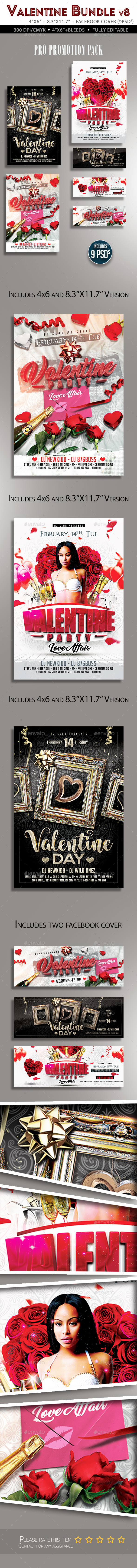 Valentine Flyer Bundle v8 - Clubs & Parties Events
