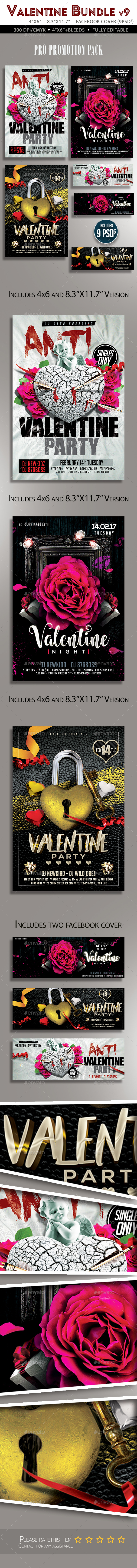 Valentine Flyer Bundle v9 - Clubs & Parties Events