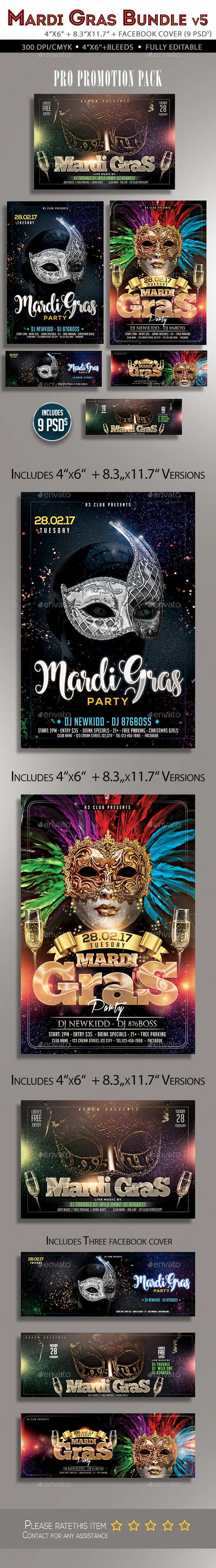 Mardi Gras Flyer Bundle V3 - Clubs & Parties Events