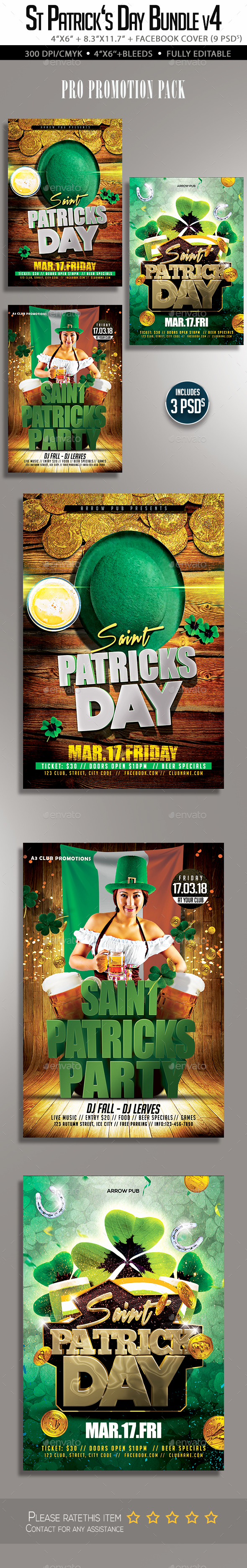St Patricks Day Flyer Bundle V4 - Clubs & Parties Events