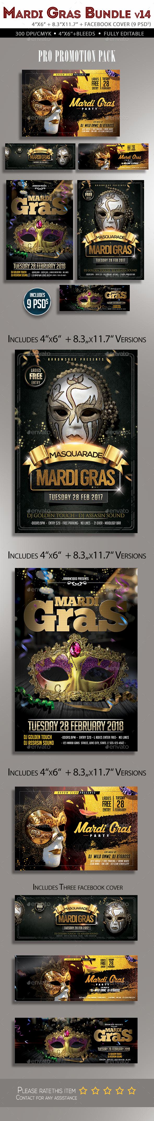 Mardi Gras Flyer Bundle V4 - Clubs & Parties Events