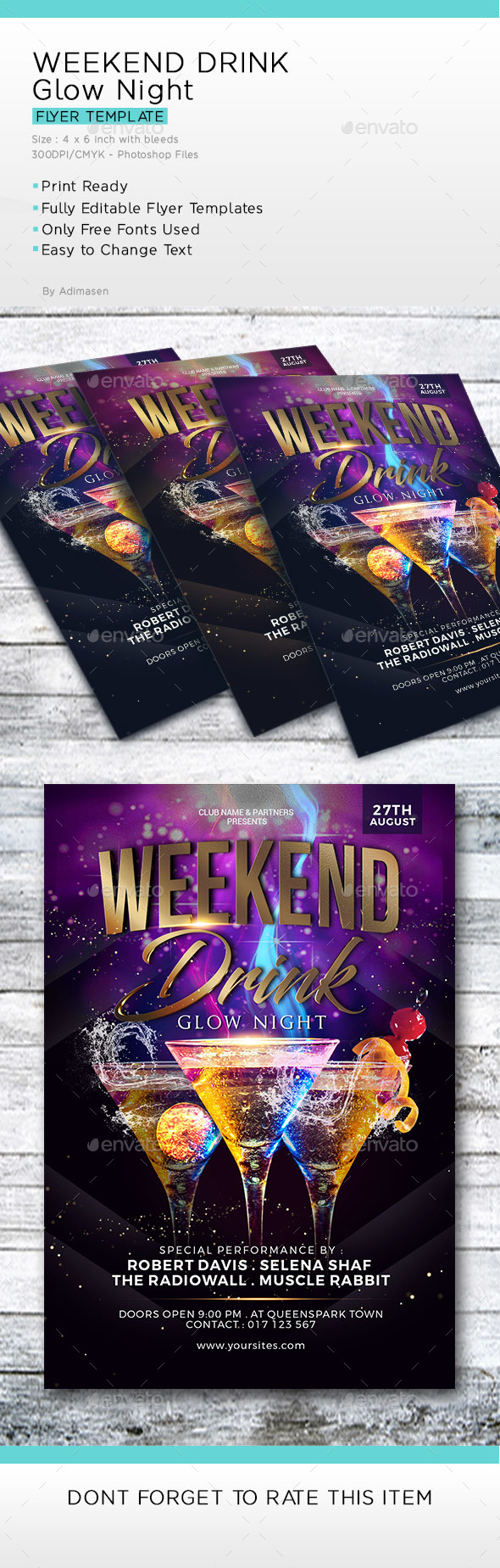 Weekend Drink Glow night flyer Template - Clubs & Parties Events