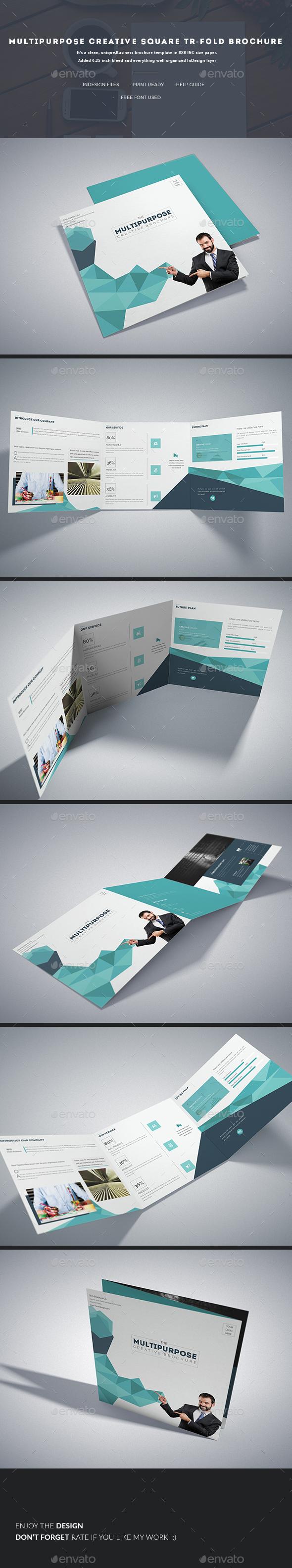 Multipurpose Creative Square Tri-fold - Corporate Brochures