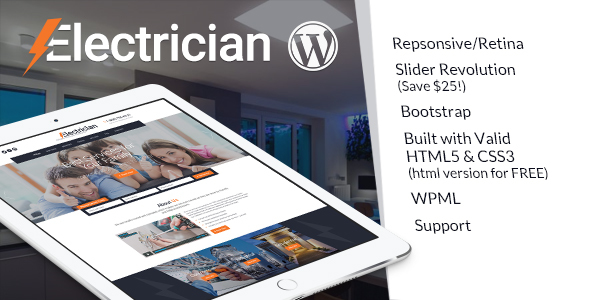 Electrician – Electricity Services WordPress Theme
