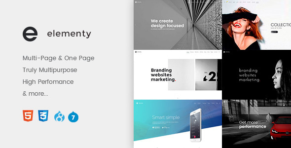Elementy – Multipurpose One & Multi Page Drupal 7 – 8 Theme