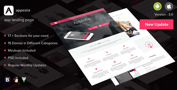 Appestia - App Landing Page - Apps Technology