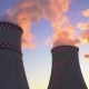 Orange Smoke From the Chimneys of a Thermal Power Plant at Sunset - VideoHive Item for Sale
