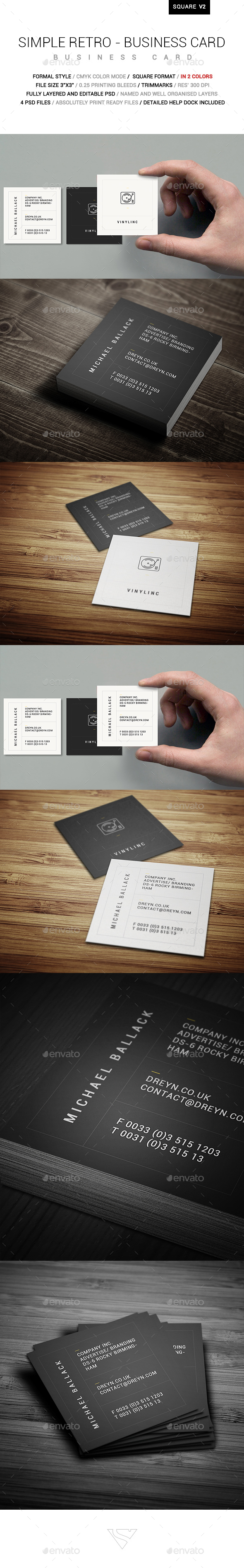 Simple Retro Square Business Card - Corporate Business Cards