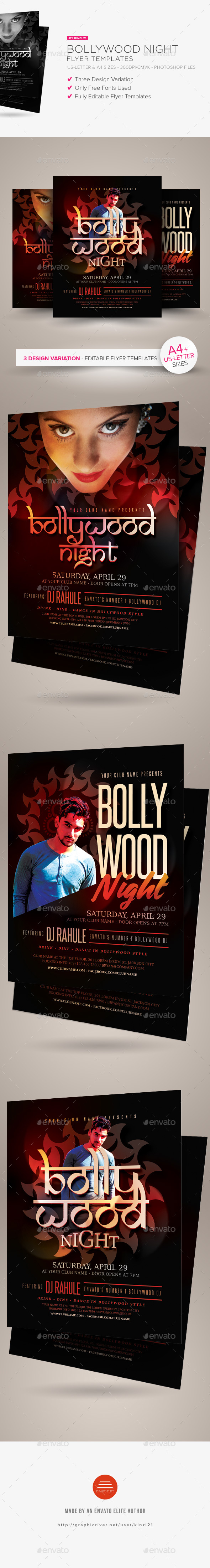 Bollywood Night Flyer Templates - Clubs & Parties Events