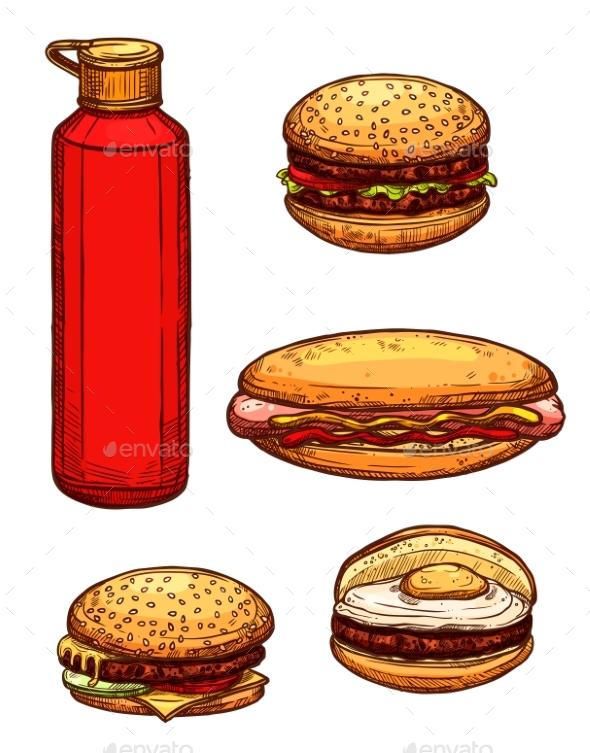 Fast Food Hamburgers, Ketchup Sketch Vector Icons - Food Objects