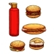 Fast Food Hamburgers, Ketchup Sketch Vector Icons