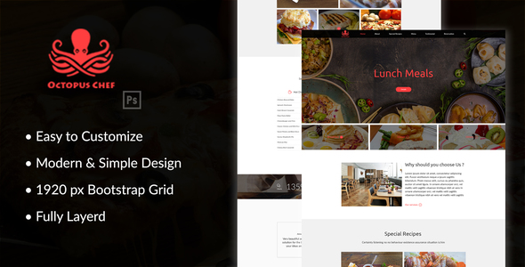Octopus Chef – Restaurants and Cafes PSD Template