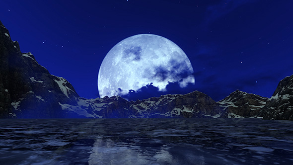 Big Moon Over Ice Lake By Sirius Studio Videohive