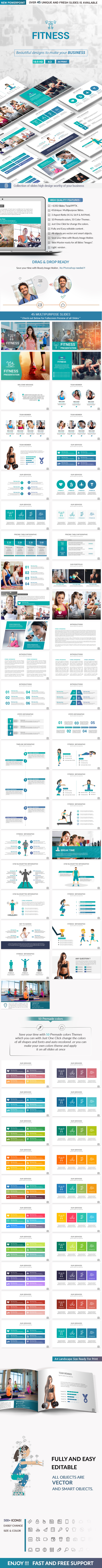 Fitness PowerPoint Presentation Template - Creative PowerPoint Templates