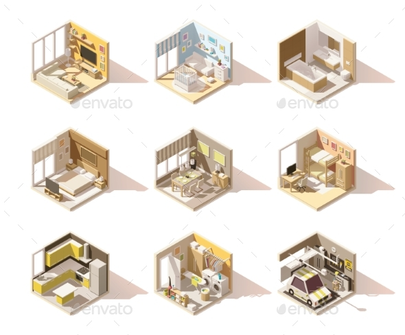 Vector Isometric Low Poly Home Rooms Set - Buildings Objects
