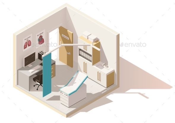 Vector Isometric Low Poly Doctors Office Icon - Buildings Objects