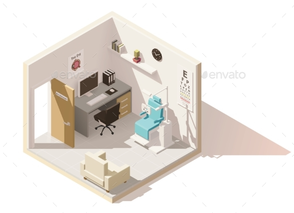 Vector Isometric Low Poly Ophthalmologist Office - Buildings Objects