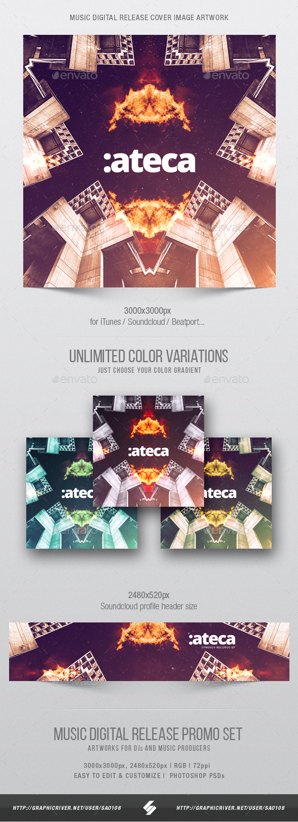 Ateca - Electronic Music Cover Image Artwork Template - Miscellaneous Social Media