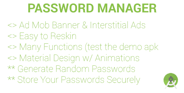 Password Manager & Generator (ADMOB Banners & Interstitials) - CodeCanyon Item for Sale